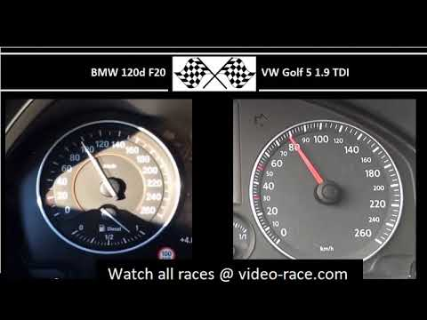 BMW 120d F20 VS. VW Golf 5 1.9 TDI - Acceleration 0-100km/h
