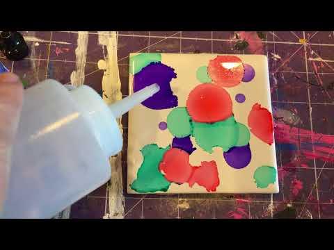 Making Alcohol Ink Coaster Tiles