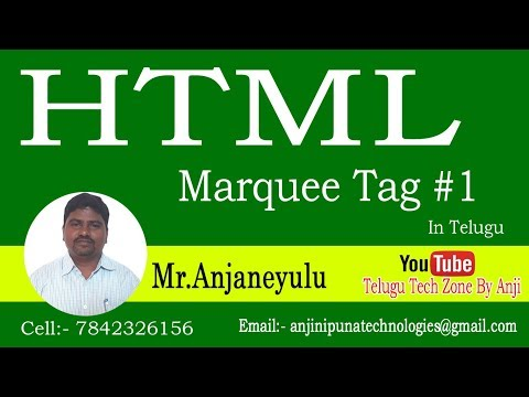 Learn HTML in Telugu  Explain about Marquee Tag In Html telugu  Marquee Tag