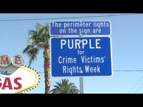 Welcome to Las Vegas Sign Goes Purple for Crime Victims' Rights Week