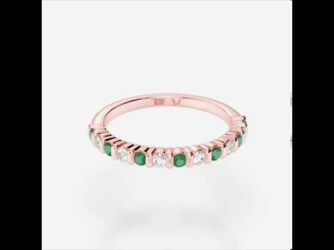 Rose Gold Emerald Diamond Eternity Ring   RGold Emerald Eternity Ring 1095