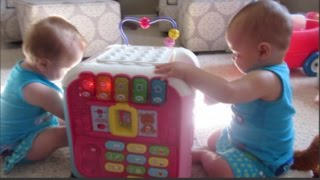 Twins play with Vtech Alphabet Activity Cube Yesterday