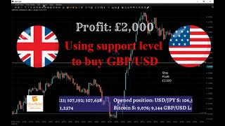 Britain's economy shrank by the most since 1979. Long on GBP/USD +£2000. Live trading session.