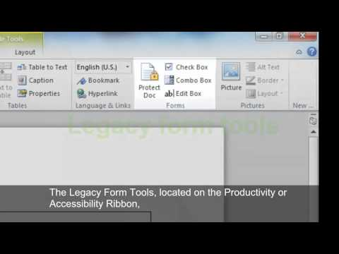 Creating Accessible Microsoft Word 2010 Documents: Word Forms