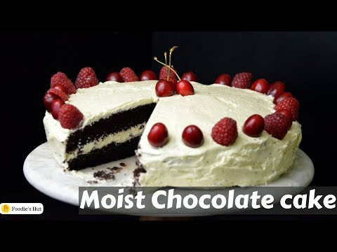 Moist Chocolate Cake  With White Chocolate Frosting Recipe By Foodie's Hut #0189
