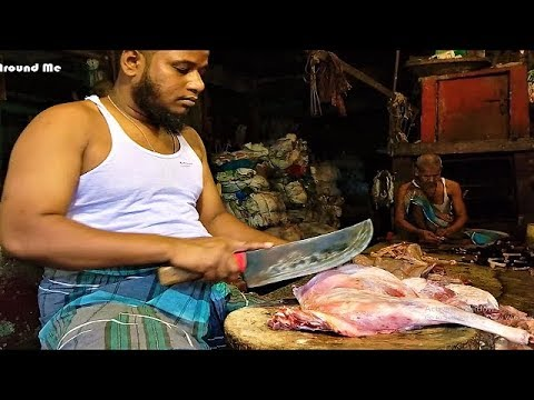 90 kg Black Bangle Goat Meat Chopping in Meat Market | 10 Pieces Full Goat Meat Cutting in BD