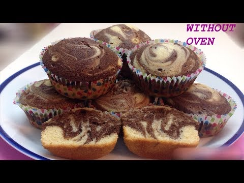 How to Make Marble Cupcakes Without Oven - Simple Marble Cupcakes