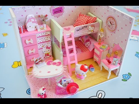 Baby Pink Doll DIY Bedroom Play Miniature Dollhouse  feat Hello Kitty || Tia Tia