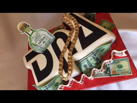 Letter cake with patron bottle, chain and, money, tutorial  - July 25, 2017