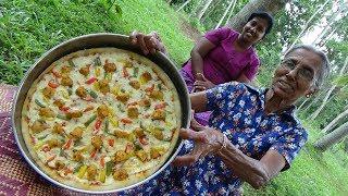 Pizza Recipe ❤ Chicken Pizza prepared by Grandma and Daughter   Village Life