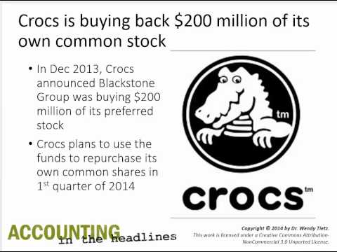 What is the balance sheet impact of Crocs' repurchase of its own shares of stock?