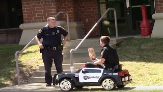 Delivering Donuts to COPS in TOY CAR!