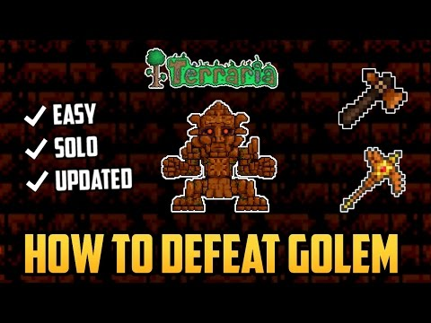 Terraria Mobile 1.2.4 | How to Defeat Golem SOLO (Easiest Method) Updated 2017