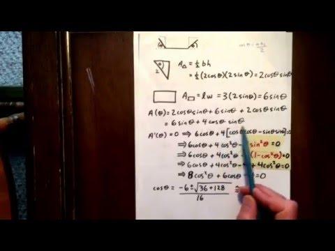 Trig derivative: optimization word problem
