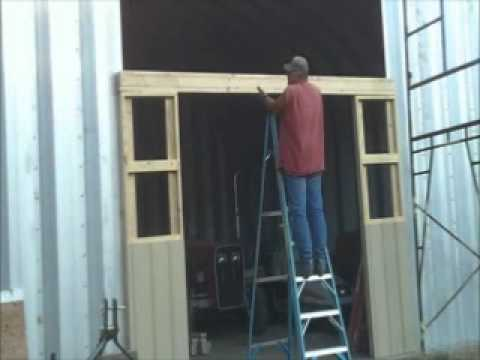 Framing the opening for the shop door.