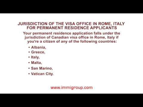 Jurisdiction of the visa office in Rome, Italy for permanent residence applicants
