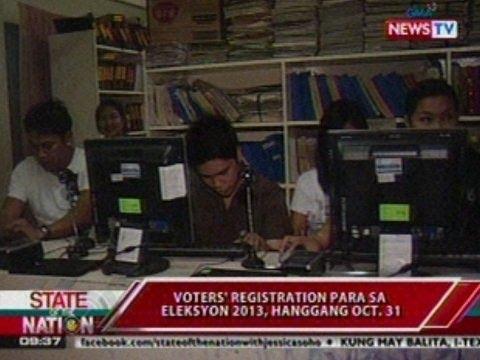 SONA: Voters' registration para sa Eleksyon 2013, hanggang Oct. 31