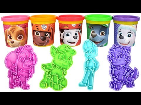 Paw Patrol Play Doh Molds & Can Heads with Skye Zuma Rocky Ryder Chase Everest Rubble Marshall