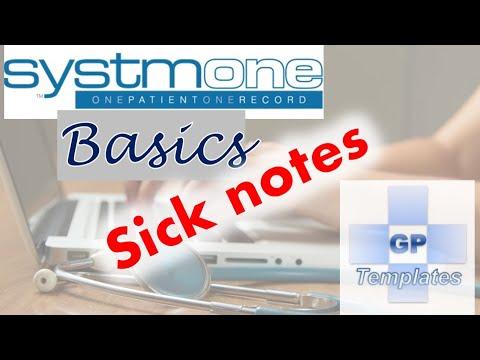 SystmOne basics: Sick Note