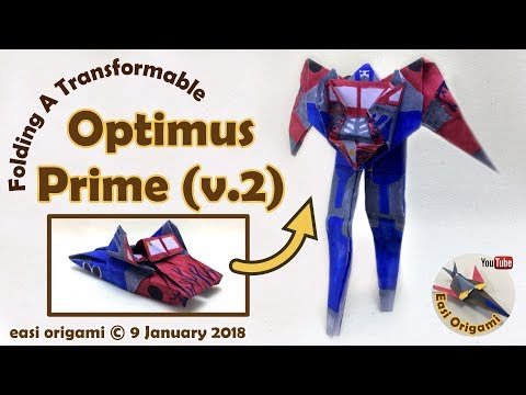 How to make a Papercraft, Origami Optimus Prime V2 (requires 1 straight cut)