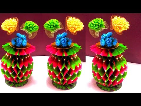 How to make paper flower vase step by step | Honeycomb shape Paper flower vase : diy
