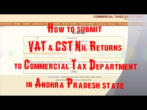 How to submit VAT NIL Returns and CST Returns to Commercial Taxes?