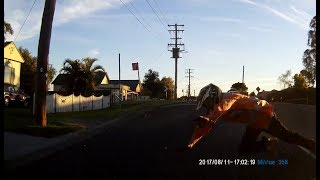 Motorbike riders close call with car - Newcastle N.S.W