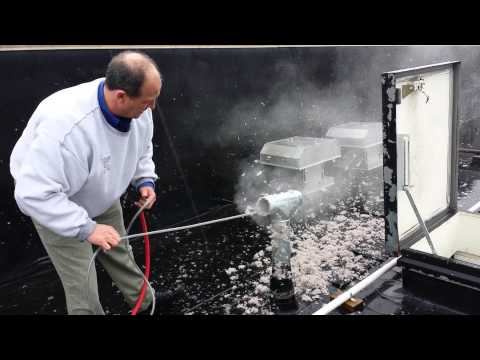 Dryer vent cleaning on a commercial building