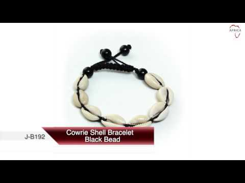 Cowrie shell bracelet: black bead from Africa Imports