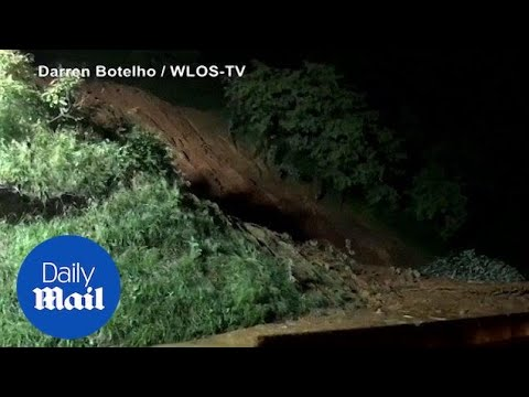 Flash floods causes landslides in North Carolina - Daily Mail