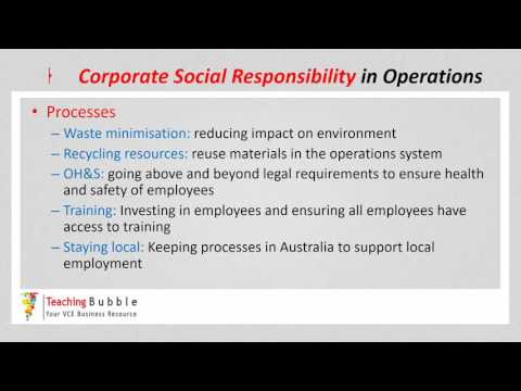 VCE Business Management - CSR in Operations