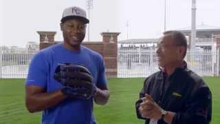 Aso & Lorenzo Cain Break In Outfield Glove