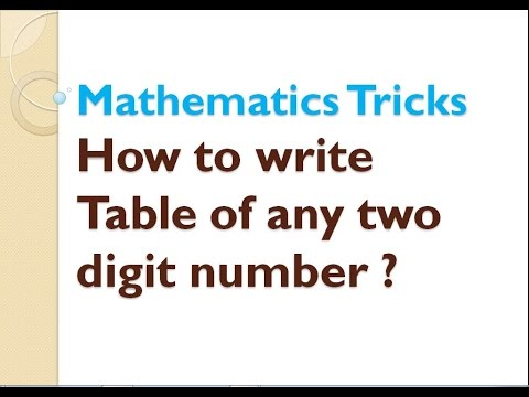 How to write a Table of any two digit number ?