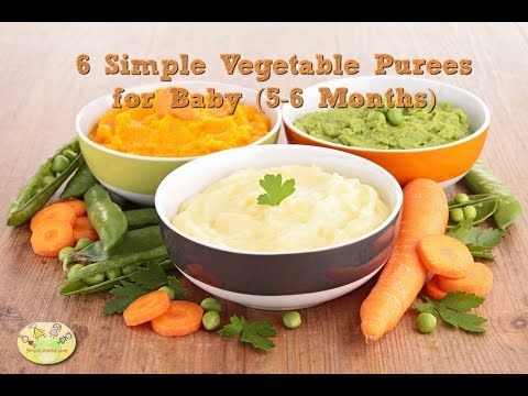 6 vegetable puree for 5 - 6 months baby | Homemade baby food recipes| Stage 1 veg baby food purees