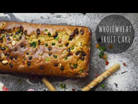 How to make Eggless cake - Whole wheat atta cake in oven - fruitcake