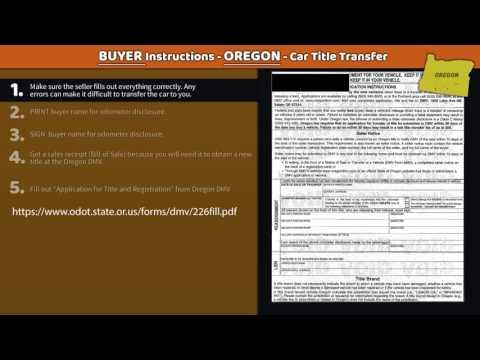 Oregon Title Transfer - BUYER Instructions