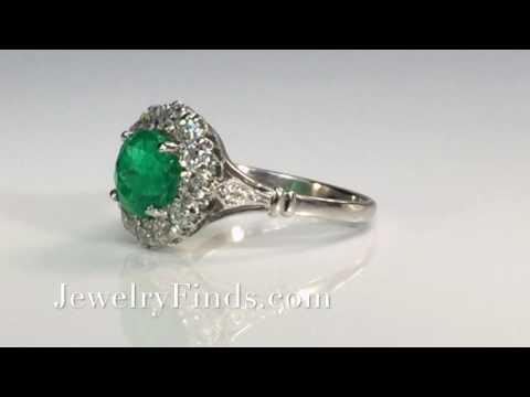 Art Deco Emerald and Old Diamond Halo Ring Platinum