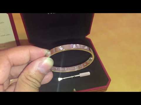 NEW - Cartier love bracelet - 10 DIAMONDS WHITE GOLD -  box opening and review