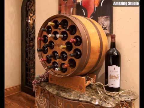 DIY Wine Barrels Bar Storage Ideas