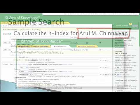 Web of Science-Finding the H-Index of an Author