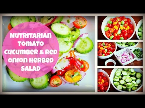 Nutritarian Herbed Tomato Cucumber and Red Onion Salad | By: What Chelsea Eats