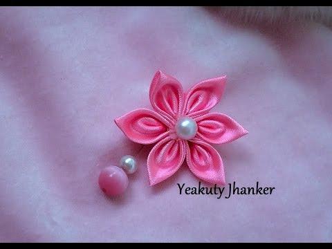 DIY: How to make Kanzashi ribbon flower - brooch/ hijab pin