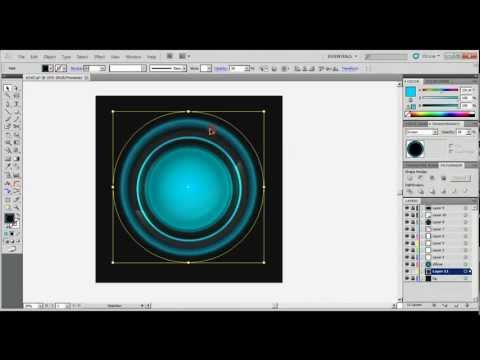 How to create round glossy vector button, AI silent screen-cast time-lapse tutorial