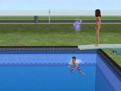 Sim under diving board