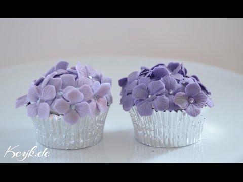 Hortensien Blütenpaste Cupcakes