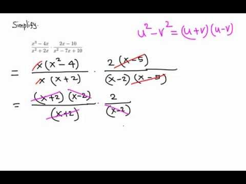 Algebra: Simplify a product of two fractions