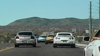 BUSTED! Unmarked cop vs Group of Nissan GT-Rs