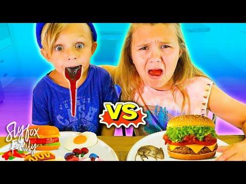 GUMMY FOOD vs REAL FOOD Challenge!! Kids Eat A RAT!! 🐁🐀 | Slyfox Family