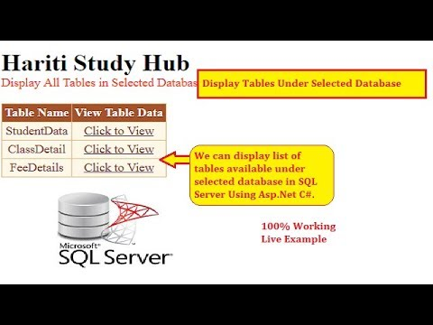 Display All Tables of Selected Database From SQL Server in Asp.Net C#   Hindi   Free Online Classes