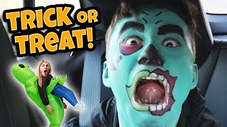 MY MOM IS AN ALIEN!!! All Aboard the Trick or Treat Mobile! Halloween Candy Haul!